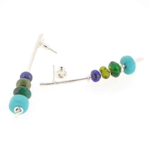 Lapis lazuli earrings with turquoise sterling silver large arc shape